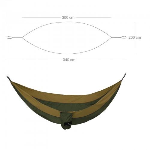 SONGMICS Hamaca Ultraligera Patio Azul y Gris GDC20UG Hamaca Doble Port/átil Senderismo Jard/ín para Mochilero Capacidad de Carga 300 kg 275 x 140 cm Peso 650 g Camping